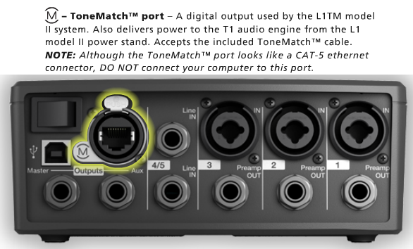 ToneMatch® Port on the T1®